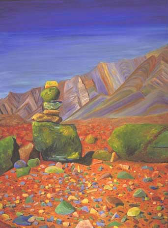 """Road to Iwal"" by Kim Vanderheiden   48x36"" oil painting, 2003Piles of stones such as this provided landmarks in the Sahara, marking the road and letting our driver know which way to go to reach the village of Iwal."