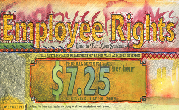 detail of artist depiction of Fair Labor Standards Act poster. Letterpress, pencil, watercolor, acrylic, thread. 14x11""