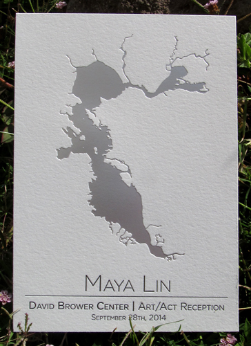 Letterpress interpretation of Maya Lin's poured silver work of the San Francisco Bay. Invitation created by Painted Tongue Press for the Brower Center Art/Act Award in 2014.