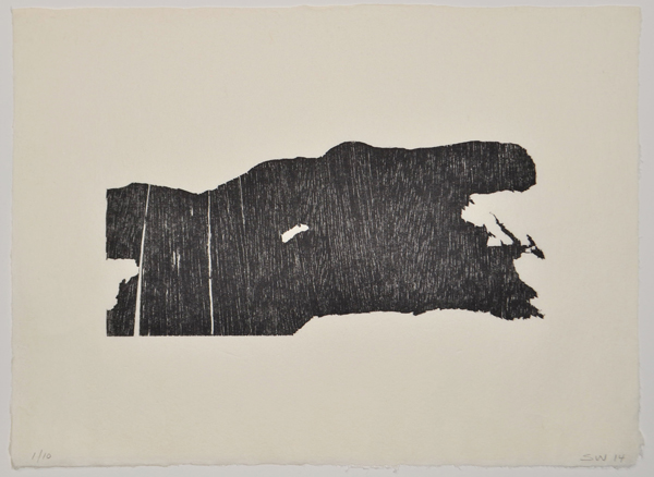 """""""The One Coming"""" by Sandy Walker, Woodcut, 2014, size. Image courtesy of the artist."""