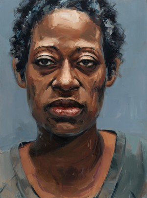 """Marissa Alexander, Convicted of Aggravated Assault with a Deadly Weapon"" by Heather Green, oil on wood panel, 65x48"", 2014, image courtesy of Kruger Gallery."