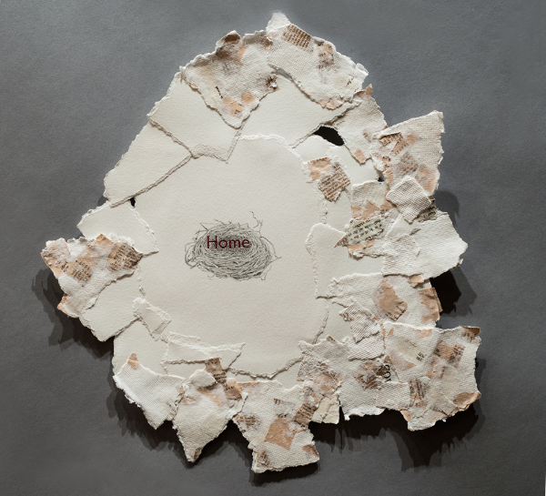 """Home,"" torn paper, handmade paper, legal books, pen & ink, watercolor, 18x18,"" 2015."