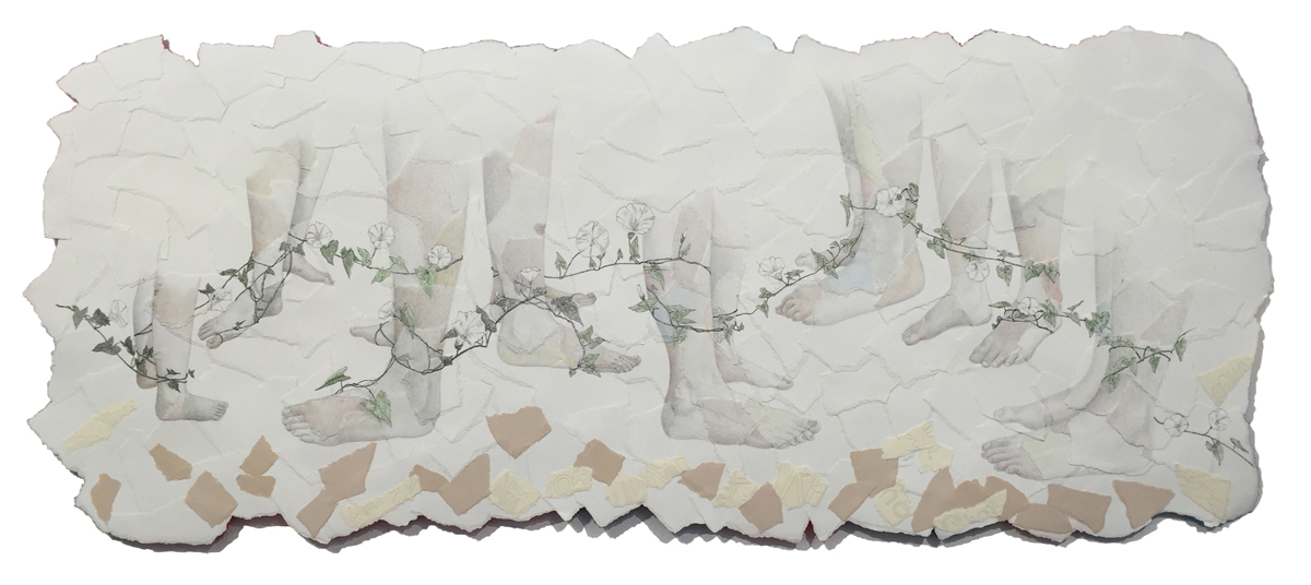 "Kim Vanderheiden, ""Pando"" (2016) 22×53 inches, pencil, pen & ink, letterpress on torn paper collage"