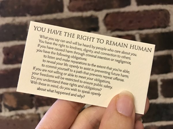 """You Have the Right to Remain Human"" letterpress wallet card"